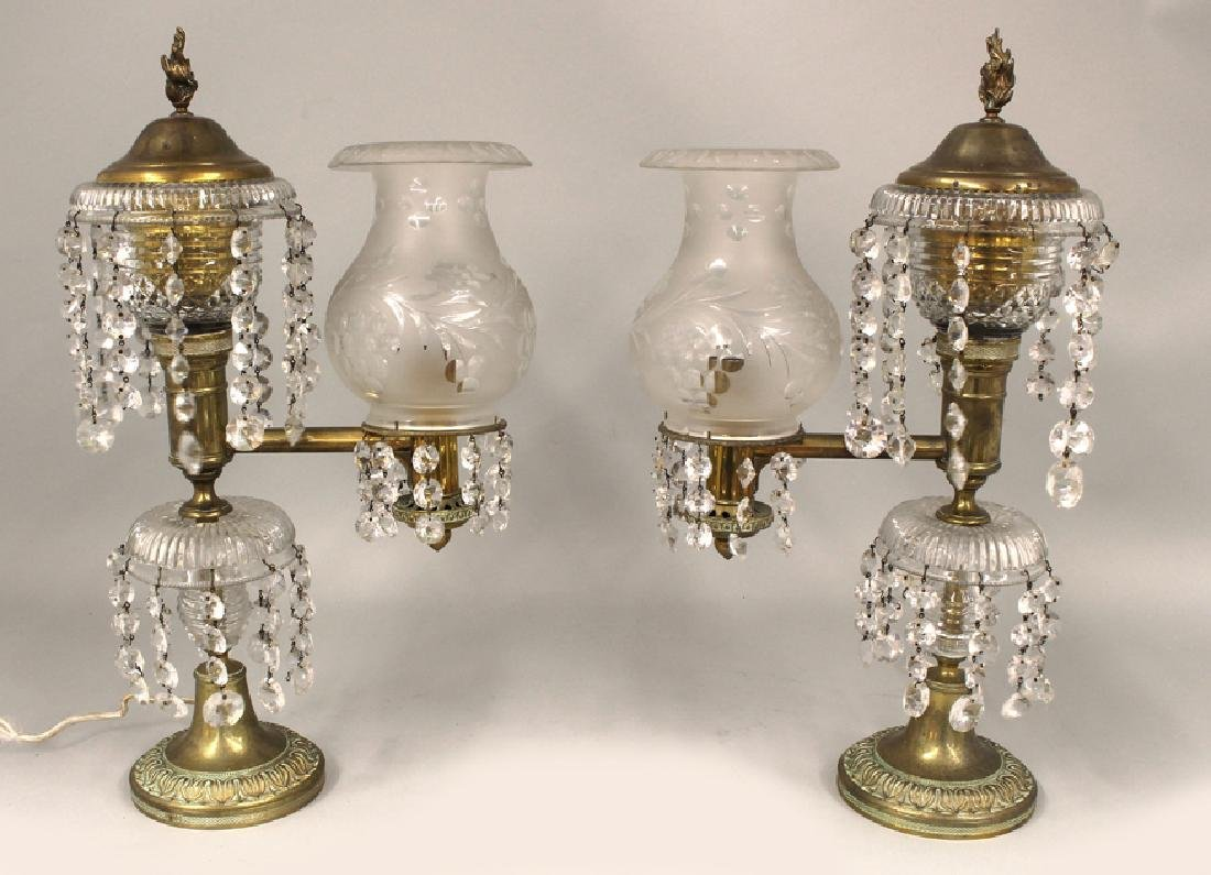 PAIR OF VICTORIAN BRASS ARGAND LAMPS