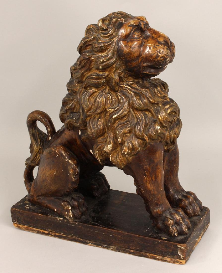 18TH C. CARVED AND POLYCROMED LION