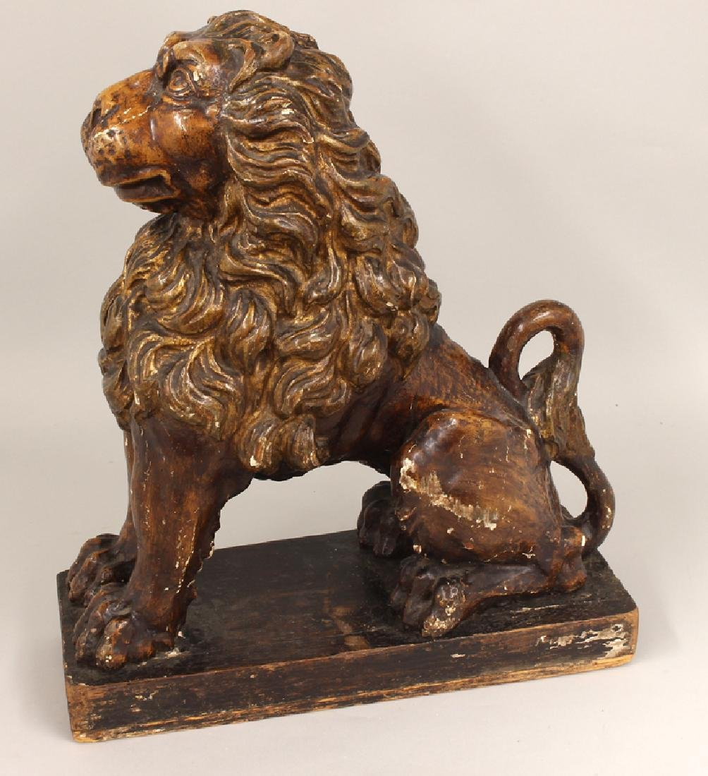 18TH C. CARVED AND POLYCROMED LION - 2