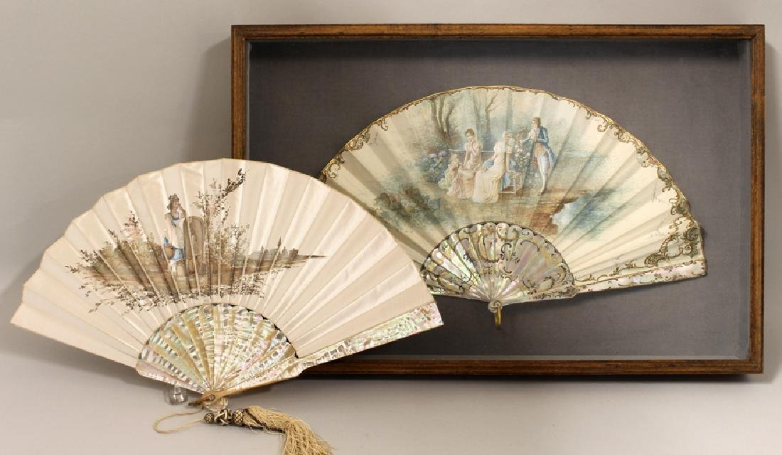 (2) MOTHER-OF-PEARL FANS