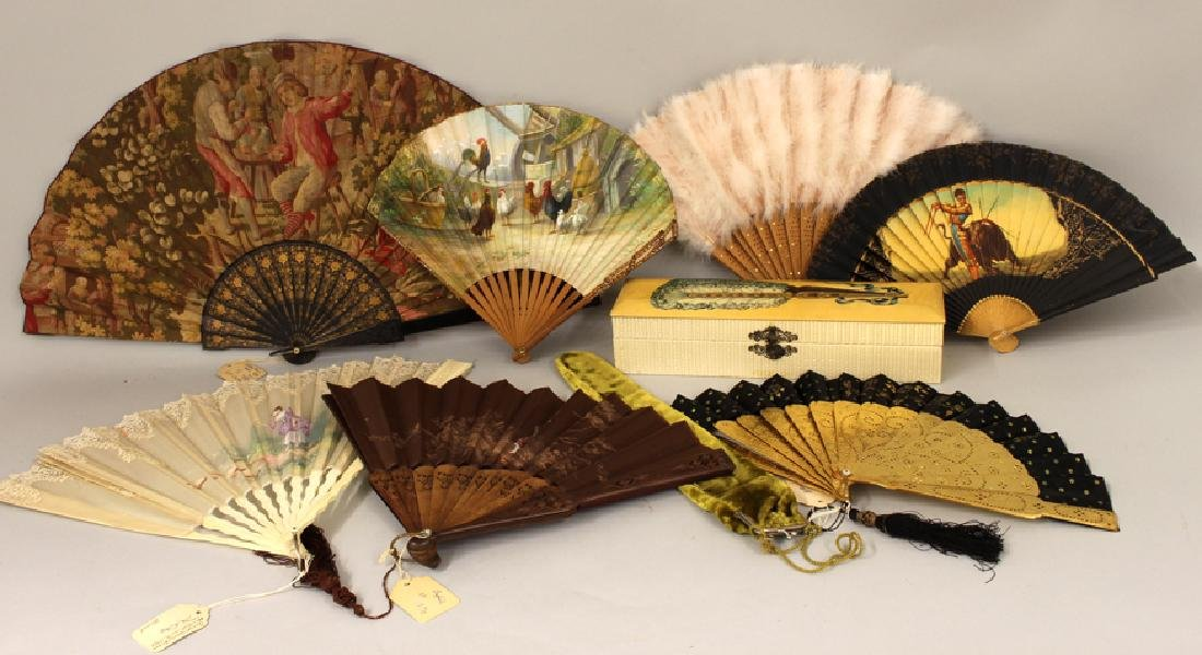 (on 10) VARIOUS 19TH C. FANS