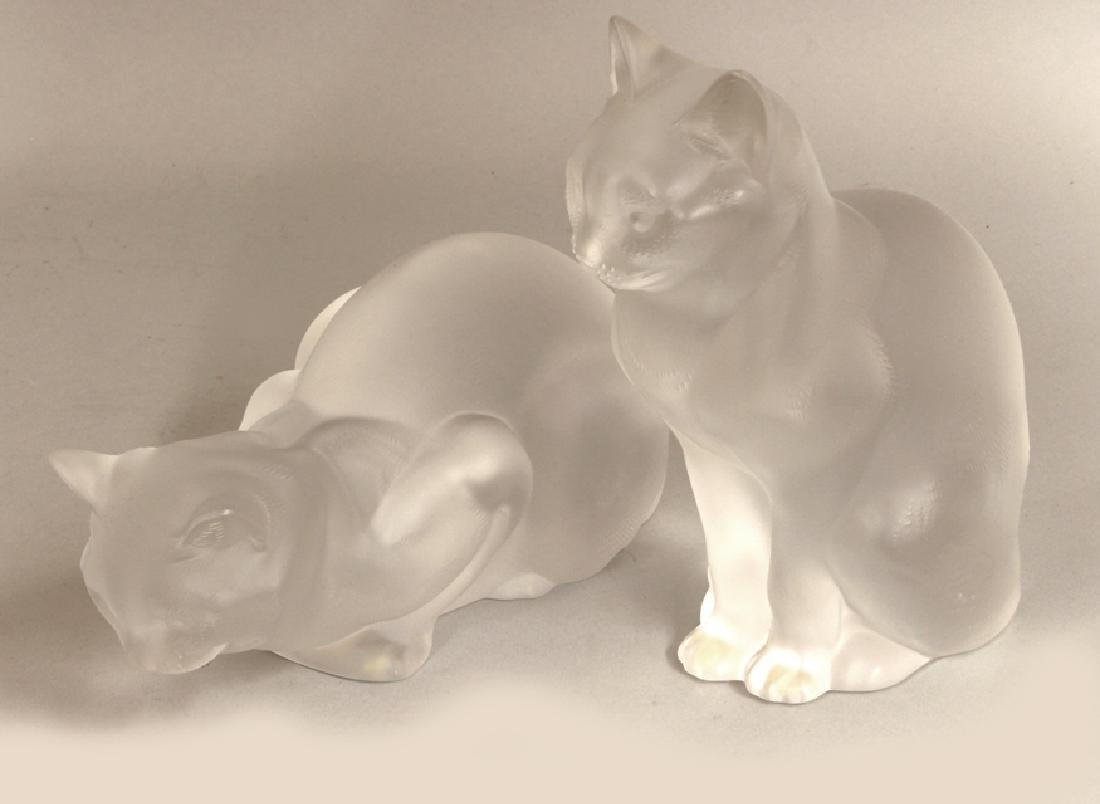 PAIR OF LALIQUE CRYSTAL CATS