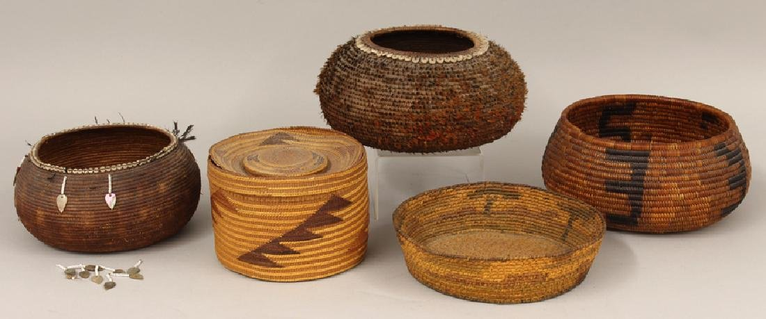 (on 5) NATIVE AMERICAN WOVEN BASKETS