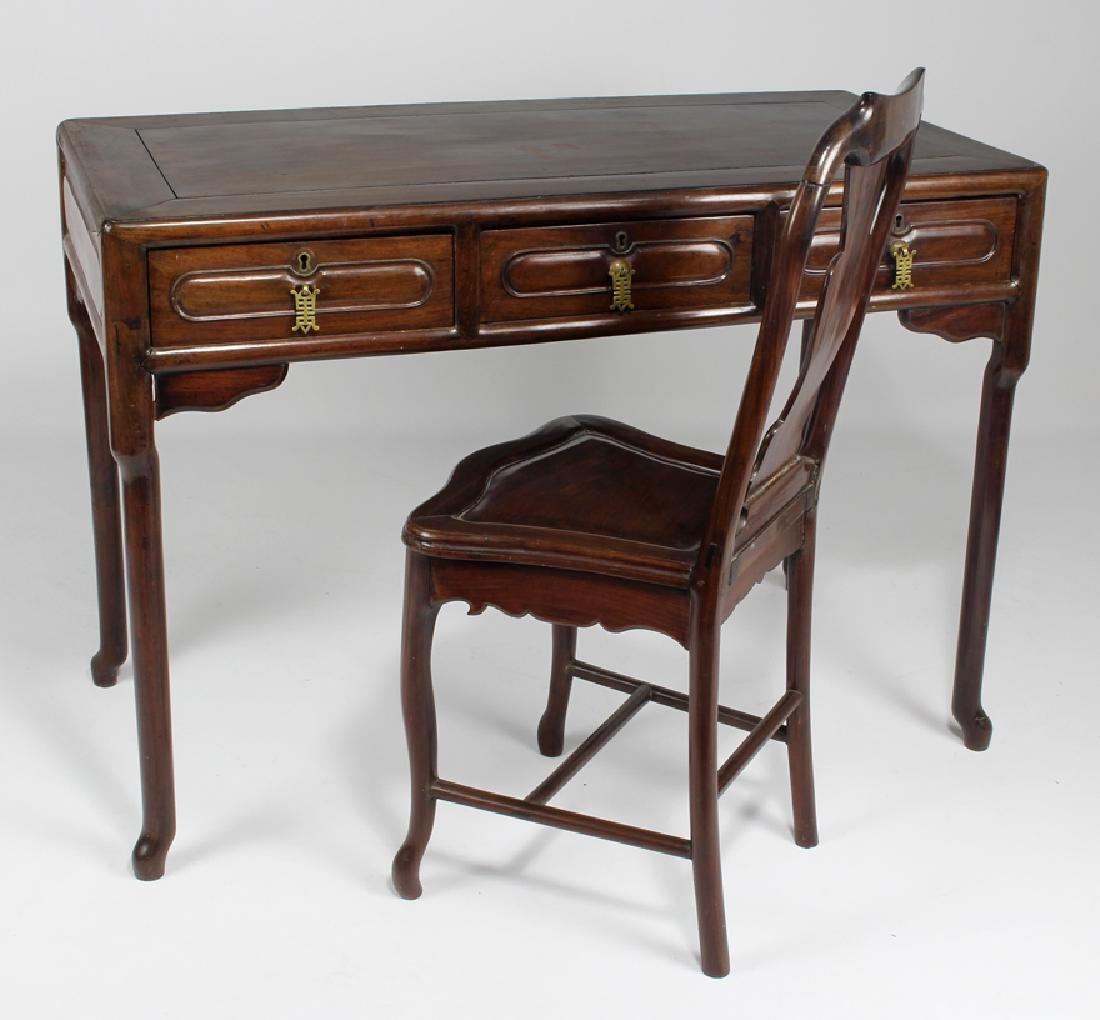 CHINESE HARDWOOD FLAT-TOP DESK AND CHAIR