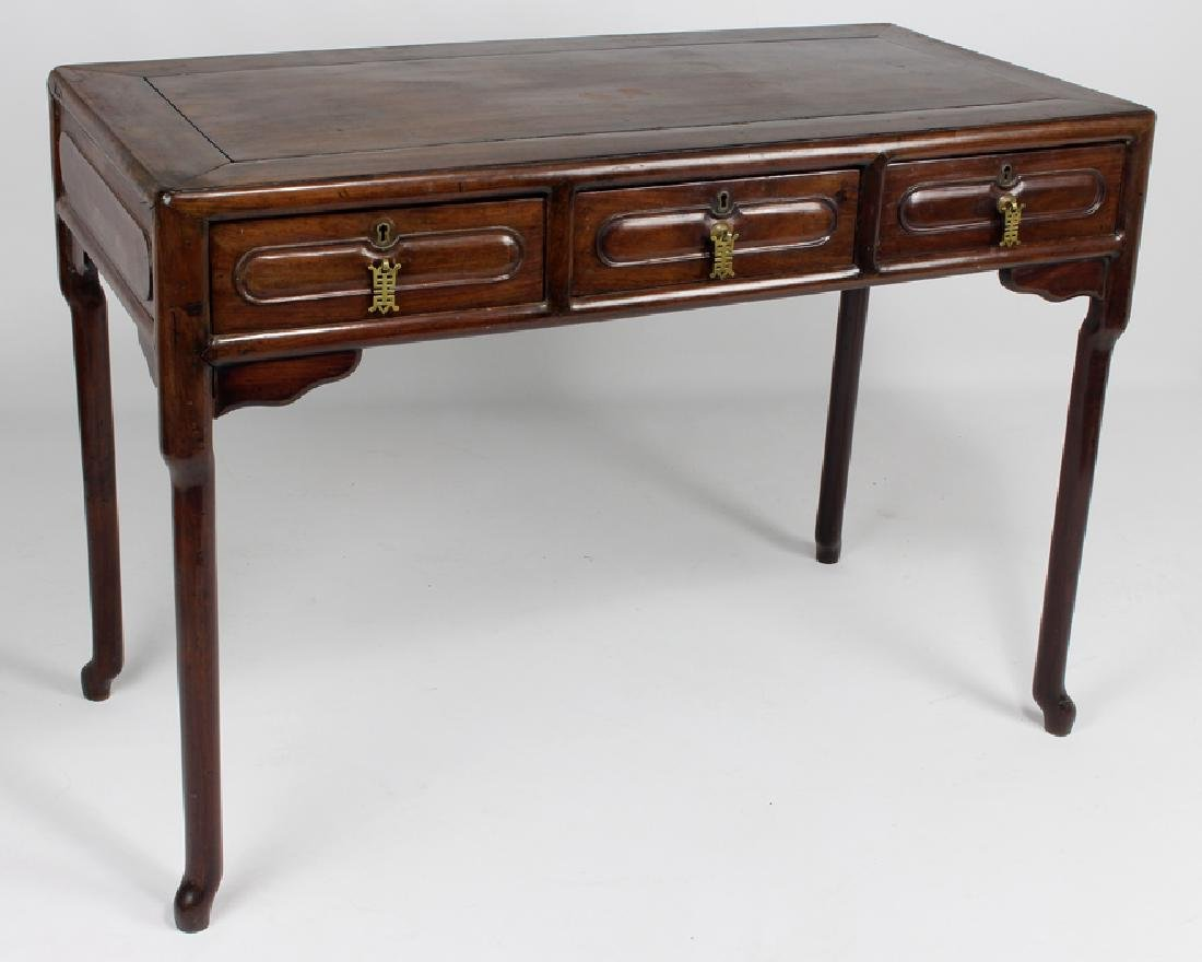 CHINESE HARDWOOD FLAT-TOP DESK AND CHAIR - 3