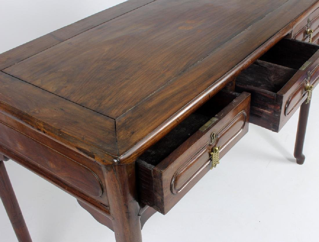 CHINESE HARDWOOD FLAT-TOP DESK AND CHAIR - 4