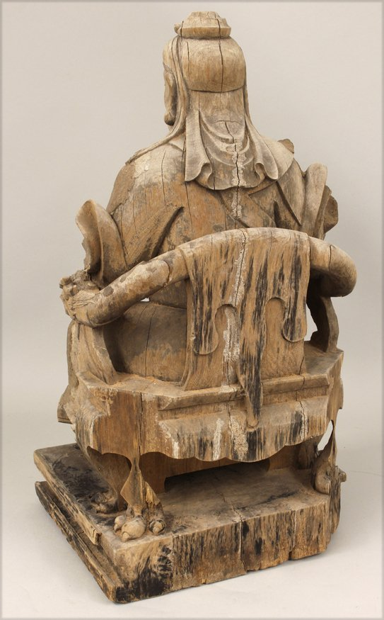 CHINESE CARVED GUARDIAN FIGURE - 2