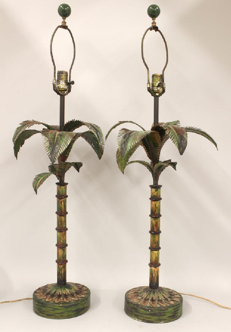 PAIR OF PAINTED TOLE PALM TREE TABLE LAMPS