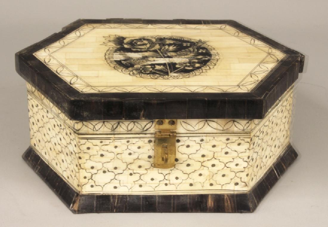 19TH C. HEXAGONAL BONE AND HORN BOX