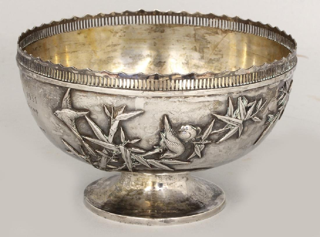 CHINESE EXPORT SILVER PRESENTATION BOWL