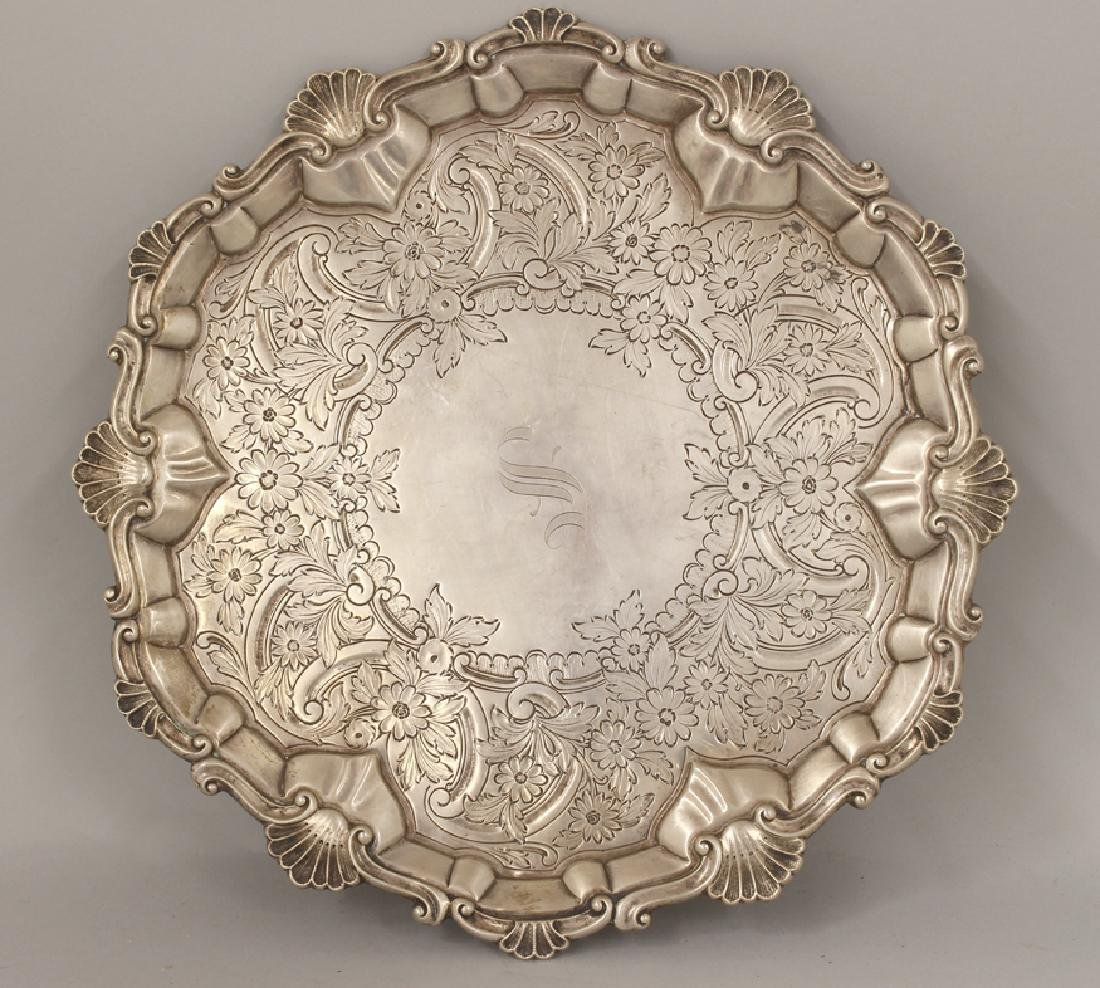 STERLING FOOTED ROUND TRAY,   HOWARD & CO.