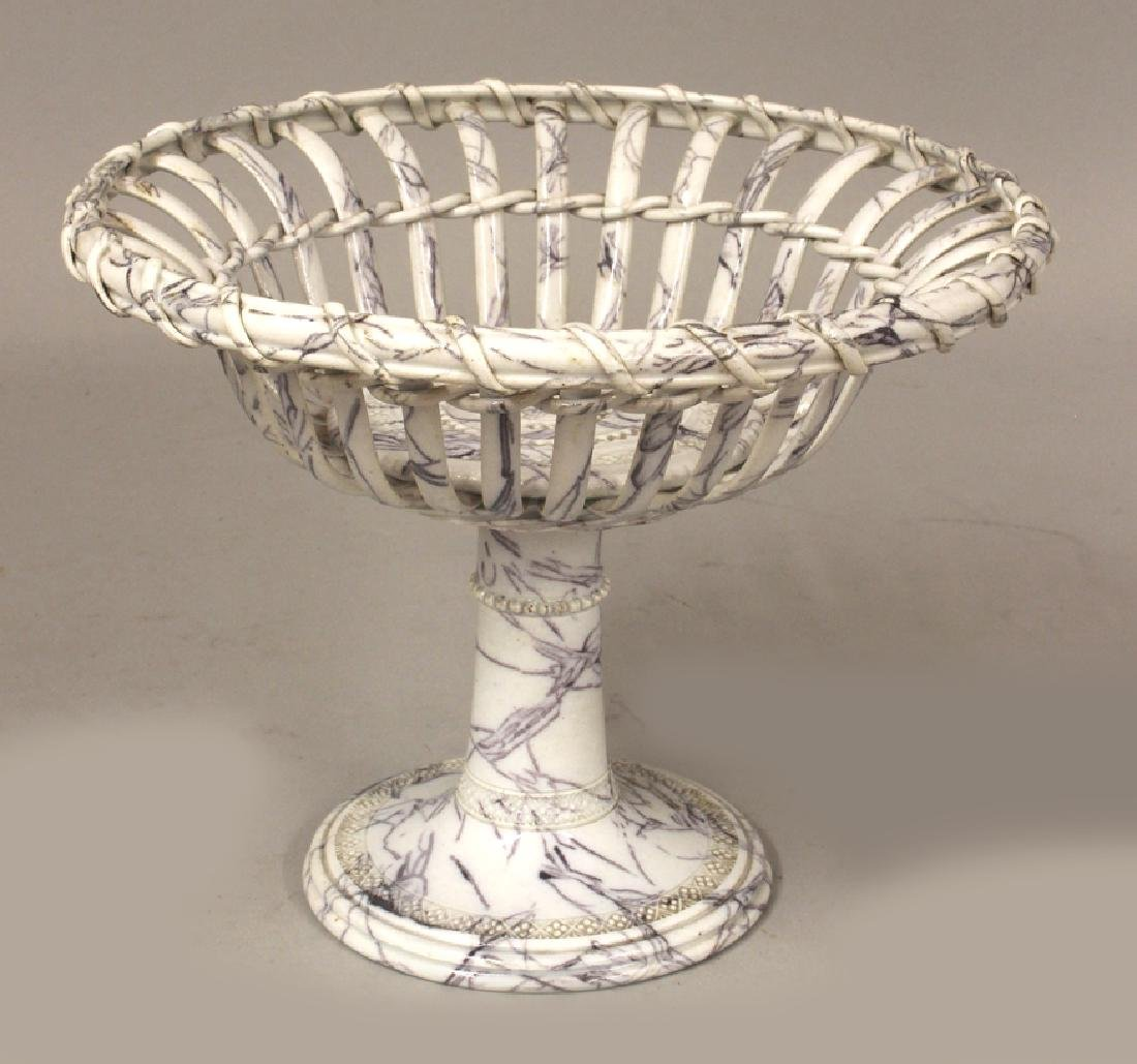 ENGLISH MARBLEIZED IRONSTONE BASKETWORK COMPOTE