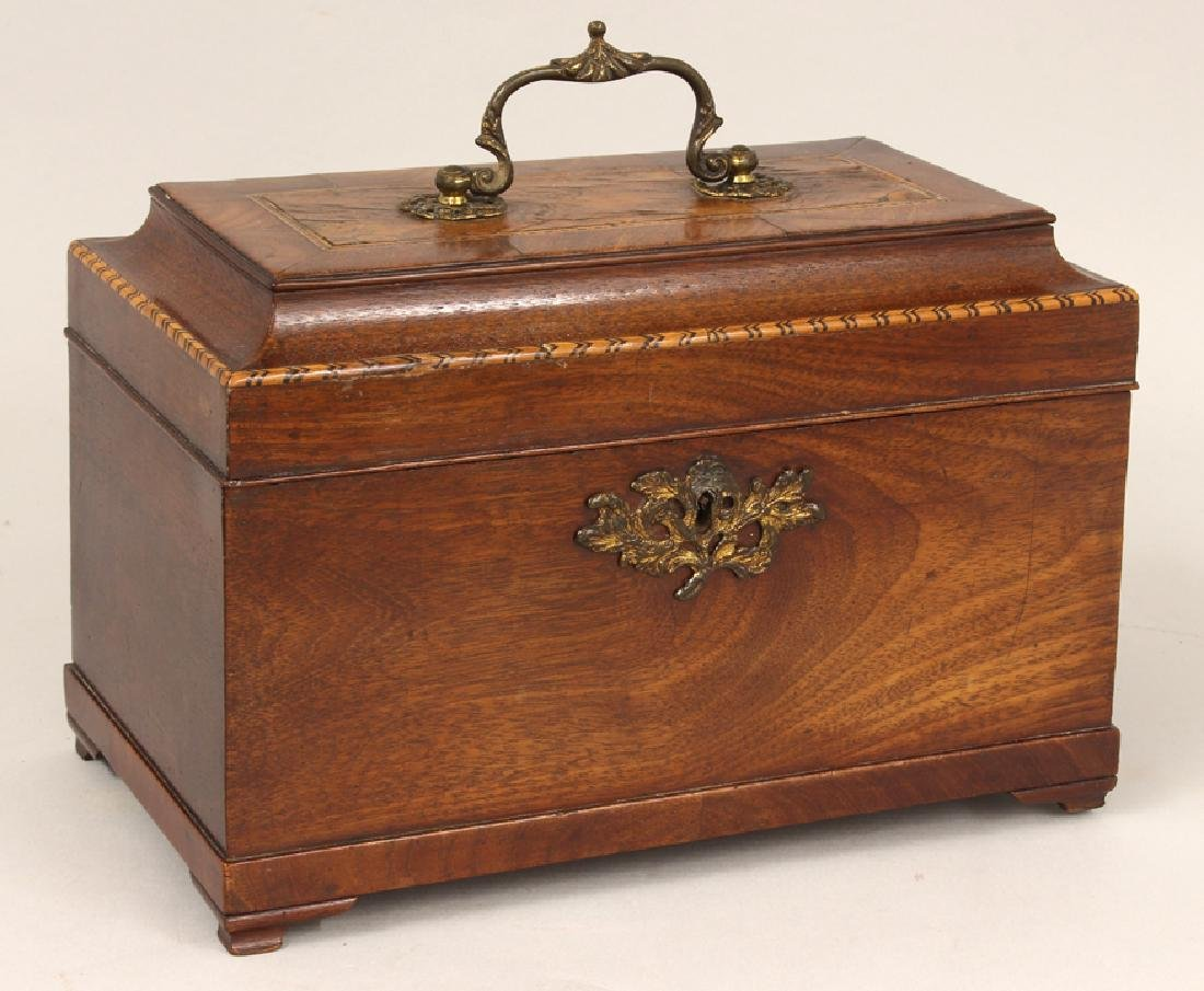 GEORGIAN-STYLE INLAID WALNUT TEA CADDY