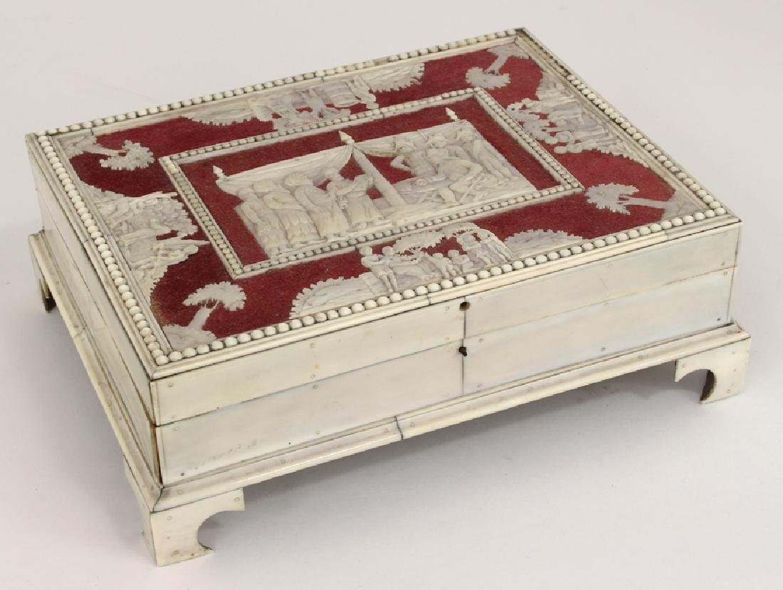 ANGLO-INDIAN CARVED BONE SEWING BOX