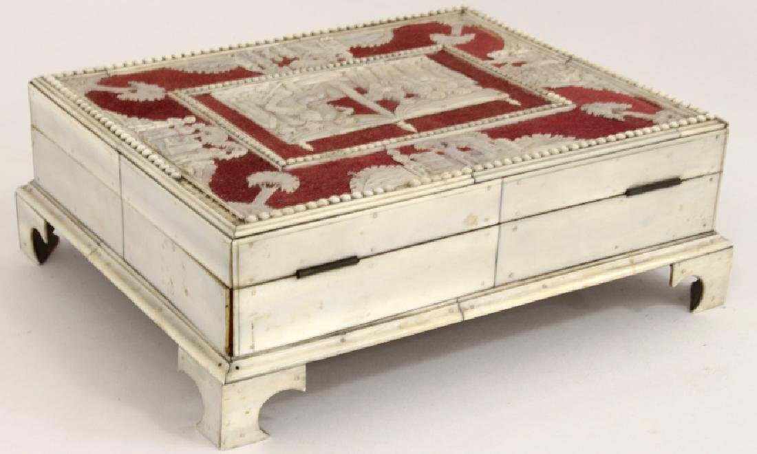 ANGLO-INDIAN CARVED BONE SEWING BOX - 4