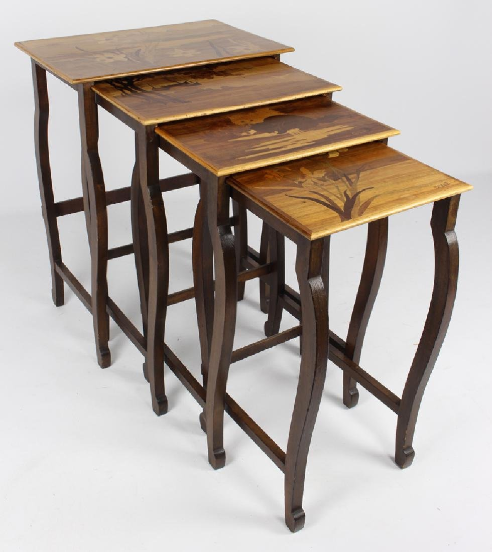 SET OF (4) GALLE MARQUETRY NESTING TABLES