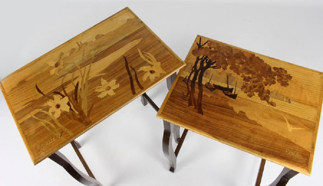 SET OF (4) GALLE MARQUETRY NESTING TABLES - 2