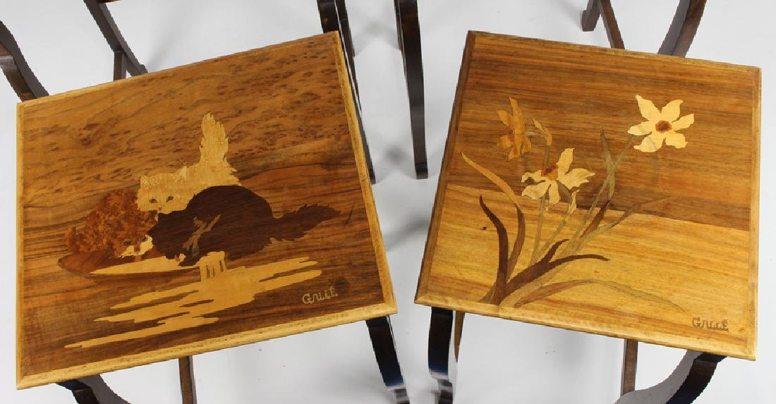 SET OF (4) GALLE MARQUETRY NESTING TABLES - 3