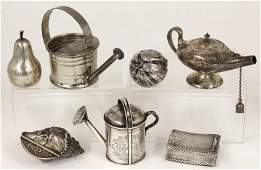 on 7 GROUP OF MINIATURE SILVER ITEMS