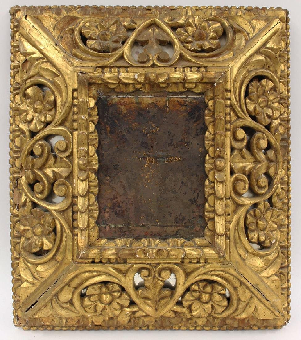 SPANISH COLONIAL CARVED GILTWOOD FRAME