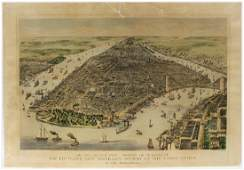 LARGE CURRIER AND IVES LITHOGRAPH   THE CITY OF NEW
