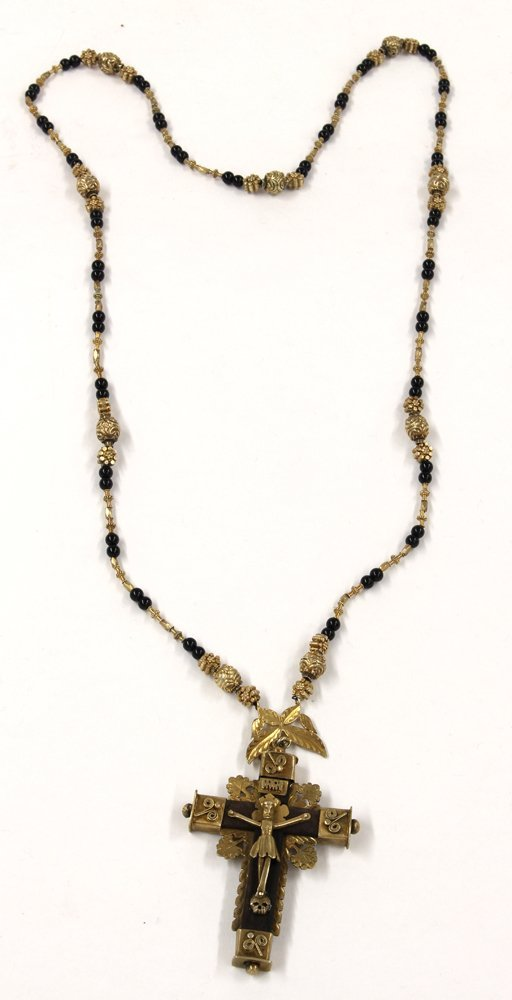 SPANISH COLONIAL SILVER GILT NECKLACE/ROSARY - 2