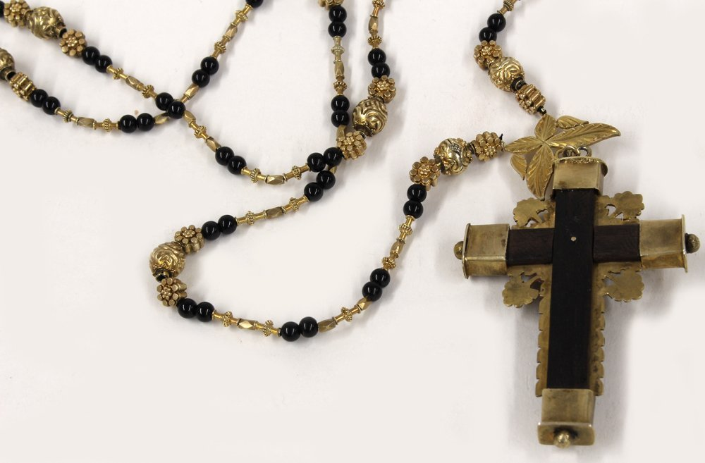 SPANISH COLONIAL SILVER GILT NECKLACE/ROSARY - 3