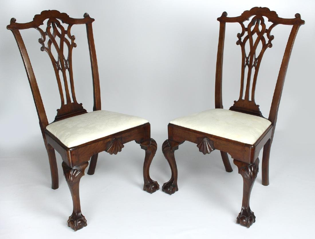 PAIR OF 18TH C. CHIPPENDALE MAHOGANY SIDECHAIRS