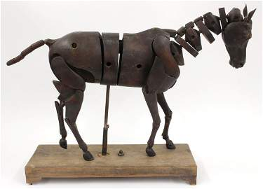ARTICULATED ARTIST'S MODEL CARVED HORSE