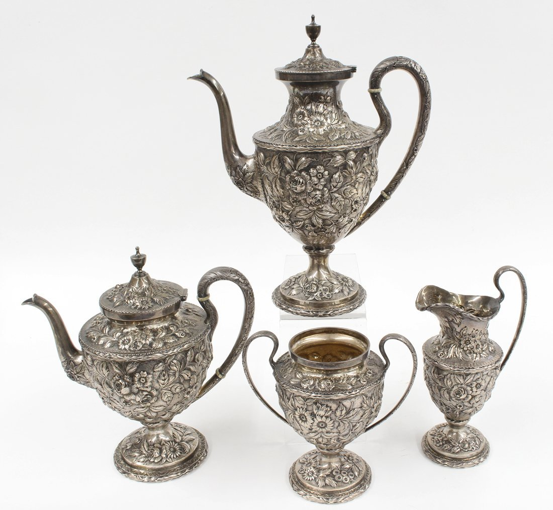 4-PIECE STERLING SILVER REPOUSSE TEA SET,   S. KIRK
