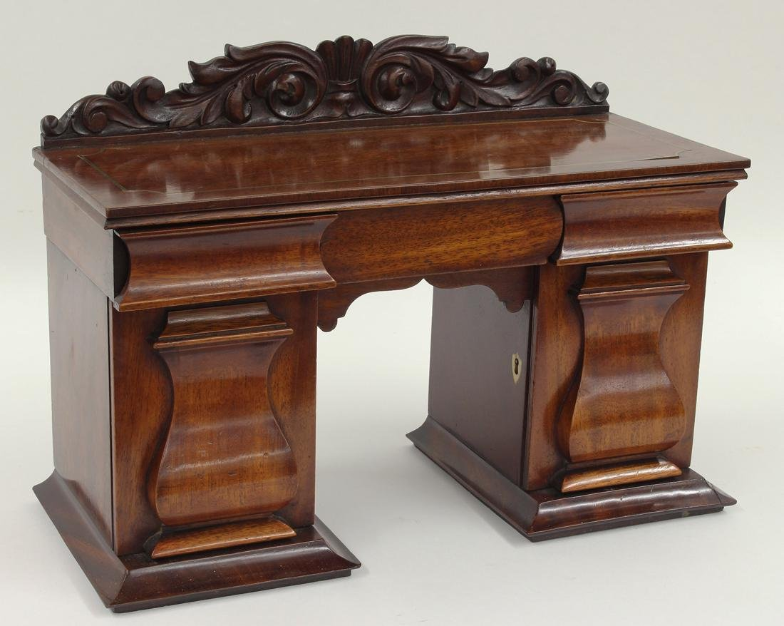 WILLIAM IV MAHOGANY SIDEBOARD-FORM TEA CADDY