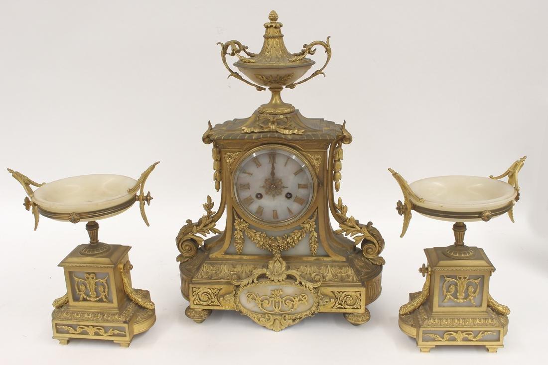 FRENCH 3-PIECE ORMOLU CLOCK SET