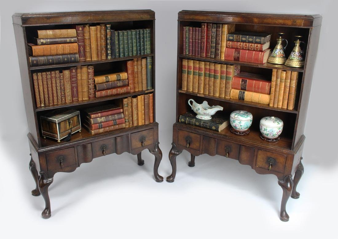 PAIR OF ENGLISH GEORGIAN-STYLE BOOKCASES