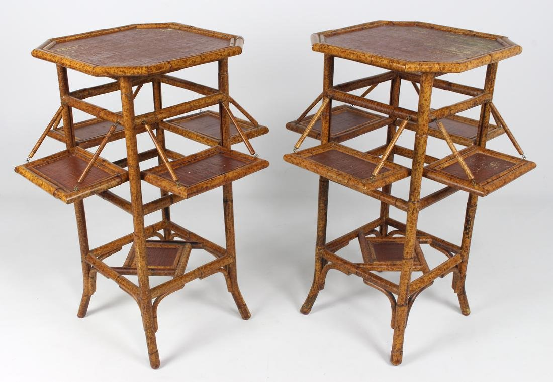 PAIR OF AESTHETIC MOVEMENT BAMBOO AND RATTAN STANDS