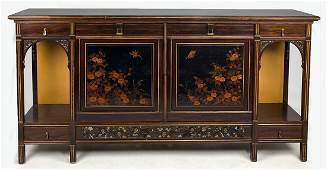 HERTER BROTHERS ART NOUVEAU INLAID ROSEWOOD CABINET