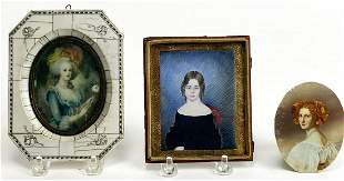(3) MINIATURE PORTRAITS ON BONE