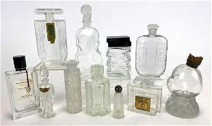 (on 11) VARIOUS VINTAGE FRENCH CLEAR PERFUME BOTTLES