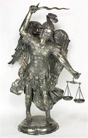 LARGE SPANISH COLONIAL SILVER-CLAD FIGURE, ARCHANGEL