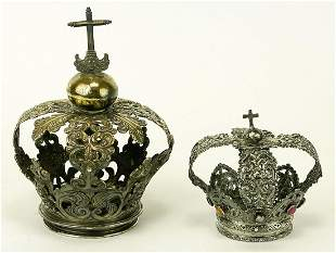 (2) SPANISH COLONIAL SILVER DEVOTIONAL CROWNS