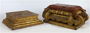 (2) SPANISH COLONIAL-STYLE PAINTED WOOD DISPLAY