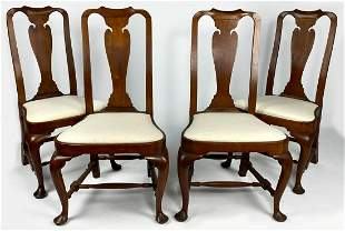 SET OF (4) NEW ENGLAND QUEEN ANNE MAPLE SIDE CHAIRS