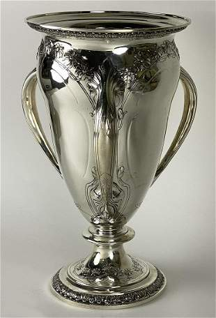 LARGE GORHAM STERLING SILVER ATHENIC LOVING CUP