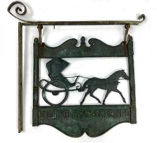 BRONZE HANGING DOCTOR'S TRADE SIGN, HORSE AND BUGGY