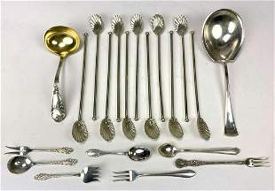 (on 20) VARIOUS 19th C. STERLING SILVER SERVING
