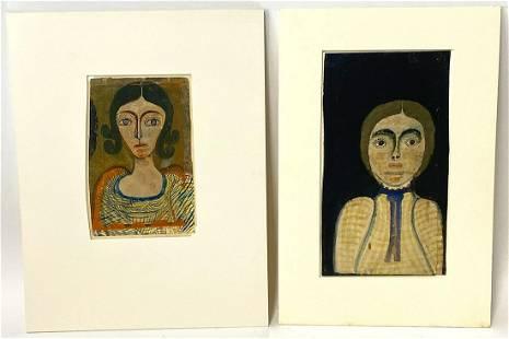 (on 2) FOLK ART PORTRAITS (American, 19th/ 20th c.)