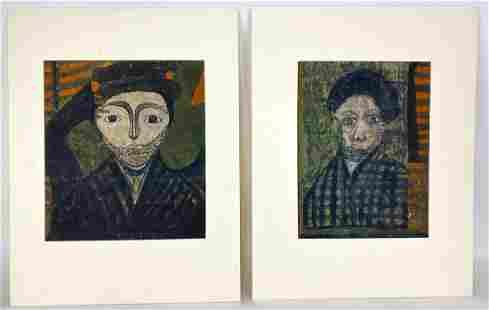 (2) FOLK ART PORTRAITS (American, 19th/ 20th c.)