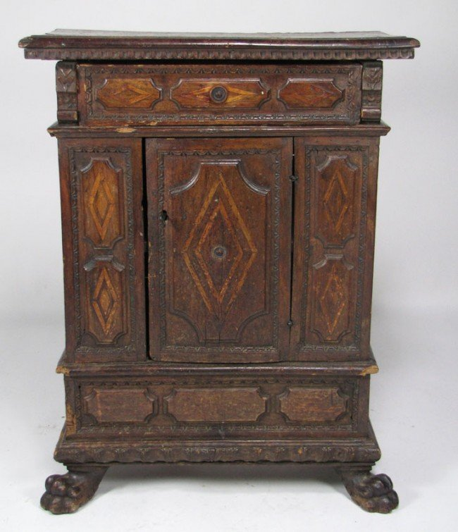 192: 18TH C. ITALIAN CARVED INLAID WALNUT SIDE CABINET