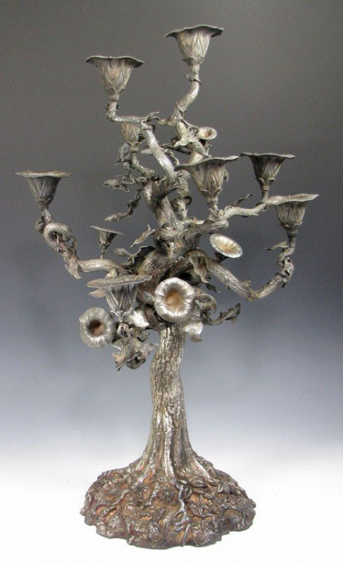 262: STERLING SILVER REPOUSSE TREE-FORM 9-LIGHT CANDELA