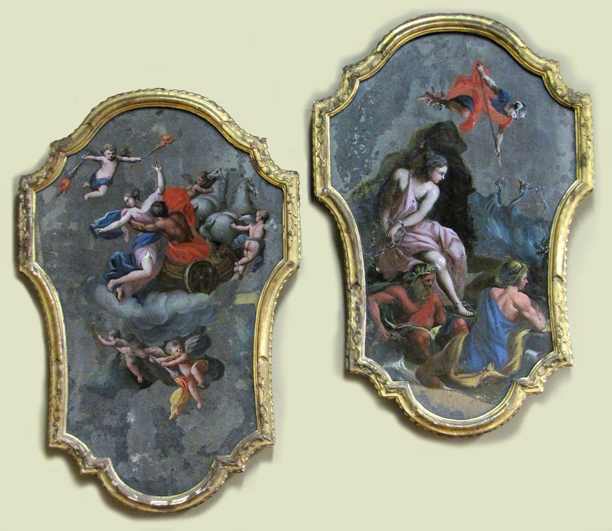 119: PAIR OF 18TH C. ITALIAN ROCOCO REVERSE PAINTINGS O