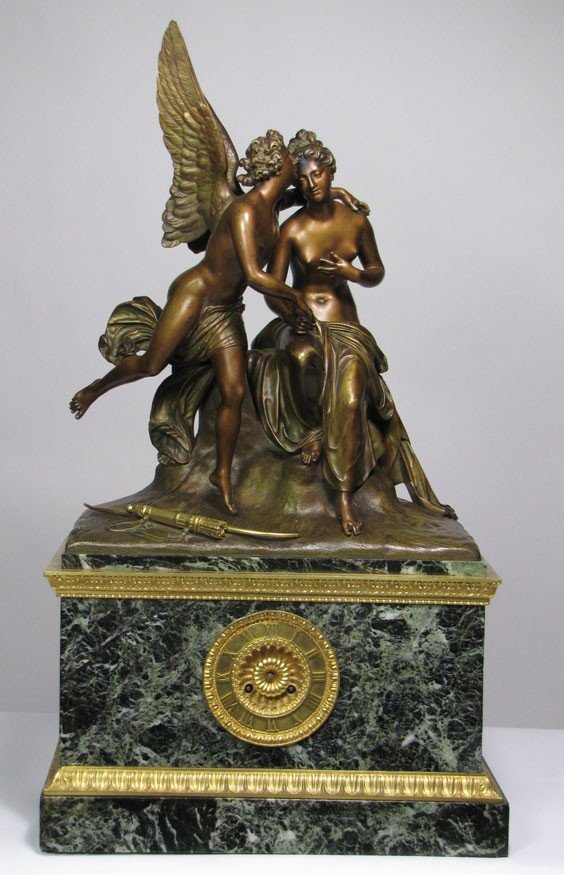 161: LARGE FRENCH BRONZE AND MARBLE FIGURAL MANTEL CLOC